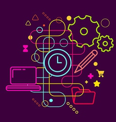 Symbols of office working at the computer on vector
