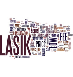 The myth of low cost lasik text background word vector