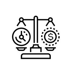 time vs money - line design single isolated icon vector image
