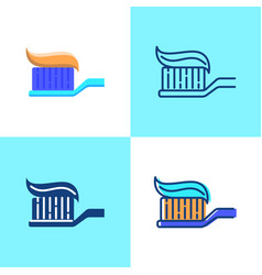 Toothbrush with toothpaste icon set in flat and vector