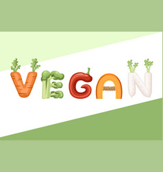 vegan style cartoon vegetable design flat vector image
