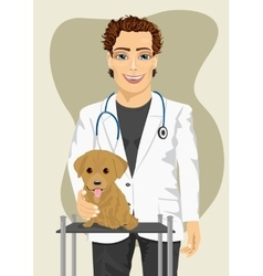 Veterinarian making check-up of labrador puppy vector
