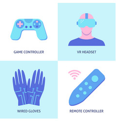 Virtual reality icon set in flat style vector
