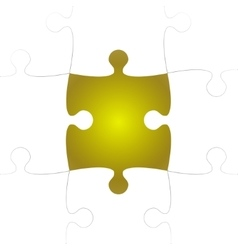 White Puzzle Pieces with One Yellow Missing vector image