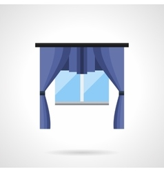 Window with curtains flat color icon vector