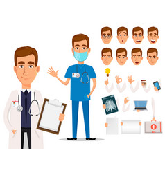 Young professional doctor pack of body parts and vector