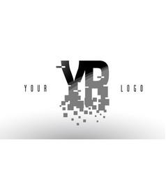 yr y r pixel letter logo with digital shattered vector image