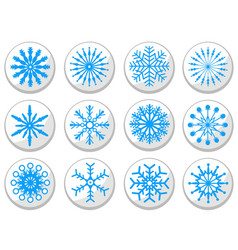 blue snowflake round buttons set vector image
