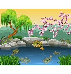 Cartoon bass fish collection in a pond vector image