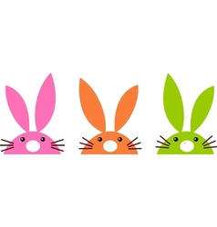 Cute simple easter bunnies set isolated on white vector image vector image