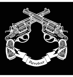 Hand Drawn Crossed Pistols With Ribbon vector image vector image