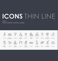 Circus thin line icons vector