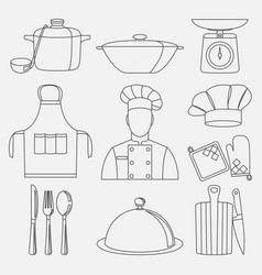 cook and kitchenware icon vector image vector image
