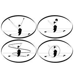Rhythmic gymnastics Ribbon ball hoop mace vector image vector image