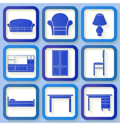 Set of 9 icons of house furniture vector image vector image