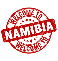 Welcome to namibia red round vintage stamp vector