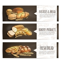 Bakery fresh bread and pastries poster vector