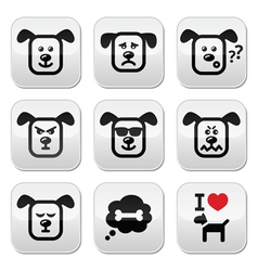 Dog buttons set - happy sad angry isolated on wh vector