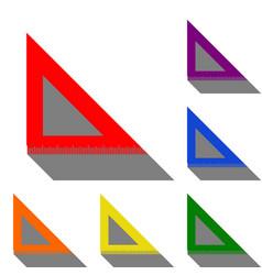 ruler sign set of red orange vector image