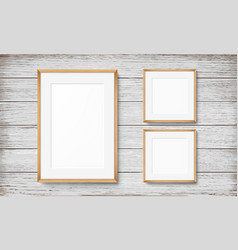 set of frames on wooden background vector image