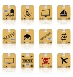 Shipping cardboard boxes icons vector image vector image