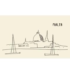 Sketch Malta view hand drawn vector image vector image