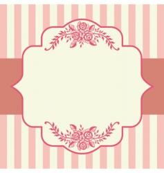 vintage roses pink frame vector image vector image
