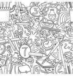 cartoon doodles hand drawn school seamless vector image