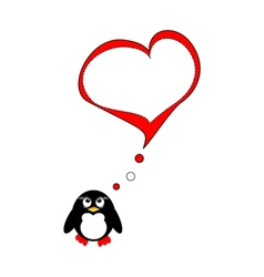 Penguin on love vector image