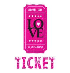 Pink love ticket vector