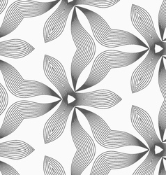 Slim gray hatched trefoils and wavy triangles vector image vector image