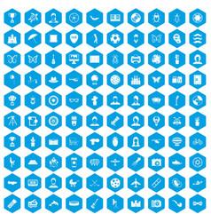 100 photo icons set blue vector