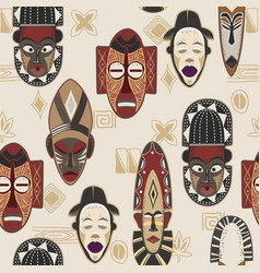 African mask pattern and ethnic ornament the vector