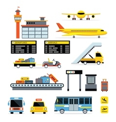 Airport Object Flat Design Set vector image