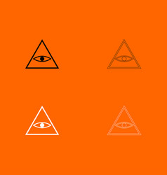 All seeing eye symbol black and white set icon vector
