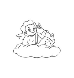 Amur winged boy isolated on cloud vector