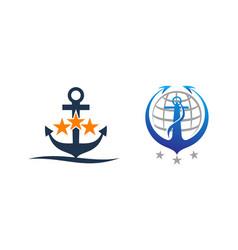 anchor globe template set vector image