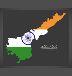 Andhra pradesh map with indian national flag vector