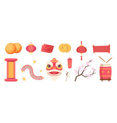 asian festive elements dragon mask fireworks vector image