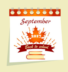 Back to school calendar sale background vector