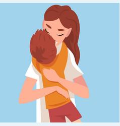 Bahugs mom mom kisses son cartoon vector