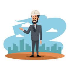 Bearded man helmet suit manager work cityscape vector