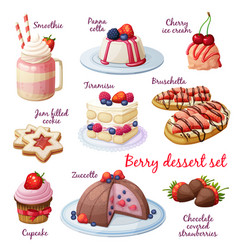 berry dessert collection cartoon style vector image