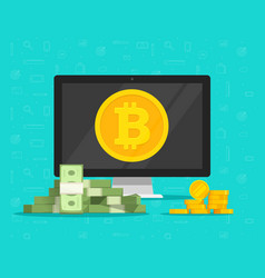 Bitcoin mining concept and paper money exchange vector
