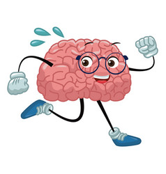 Brain cartoon running vector