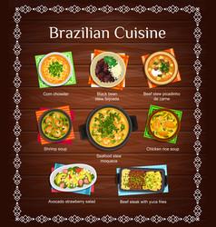 Brazilian cuisine menu with meals brazil vector