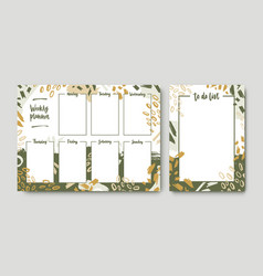 Bundle weekly planner and to-do-list templates vector