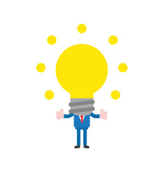 businessman with glowing light bulb head vector image