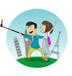 Cartoon boy and girl posing together making selfie vector