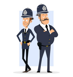 cartoon british policeman boy character set vector image